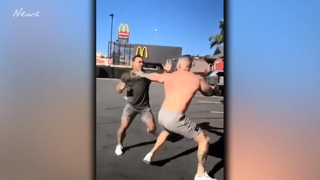 Bikies scrap in violent KFC Carpark brawl