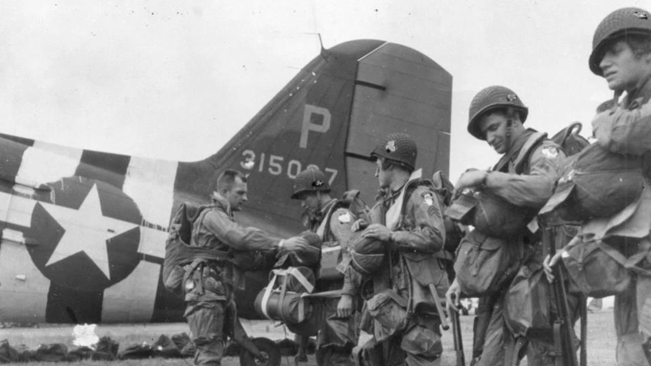 US paratroopers getting ready to fly over France and parachute behind enemy lines. Picture: Getty Images