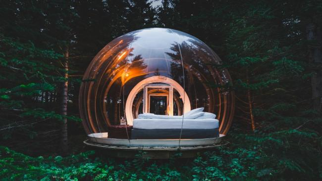 7/13Bubble Hotel, Iceland Whether you choose the suspended forest location or the one that provides the best chance of seeing the northern lights, these heated spheres are also close to natural springs and embedded in national parks.
