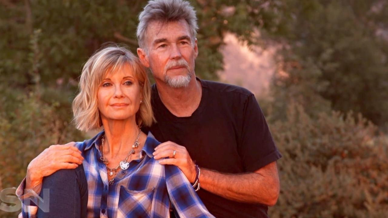 Olivia Newton-John and her husband John Easterling on Channel 7's Sunday Night.
