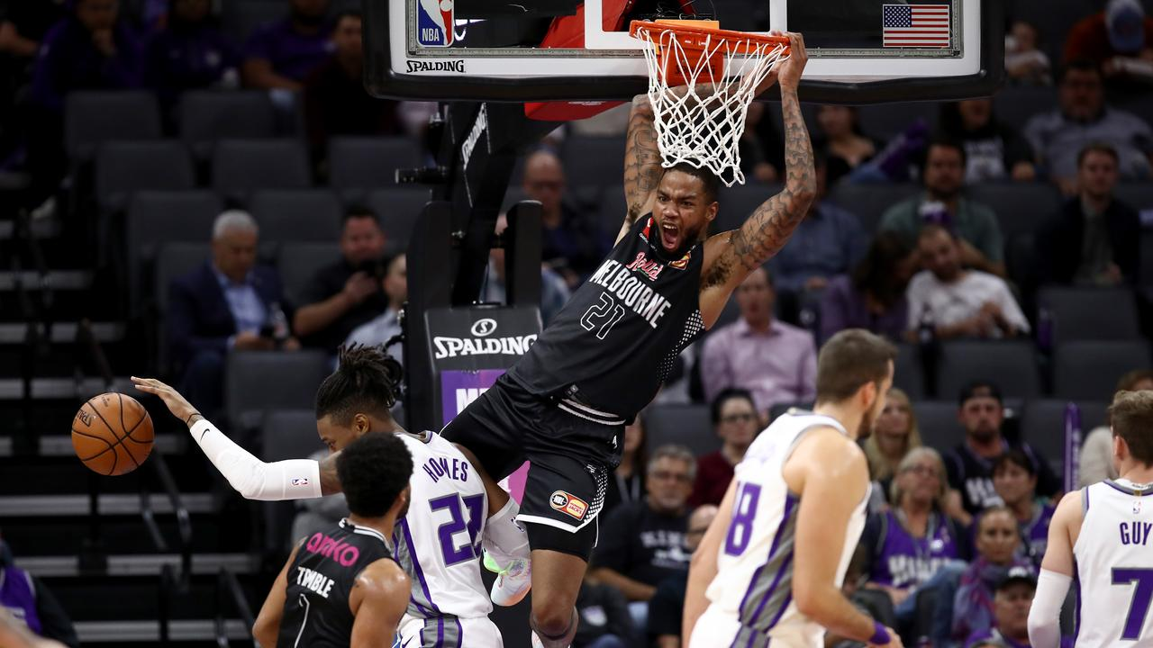 Melbourne United star Shawn Long brings the hammer down on Sacramento. Picture: Getty Images