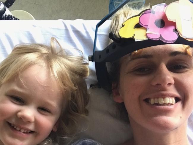 She had a neck halo screwed into her skull. Picture: Supplied