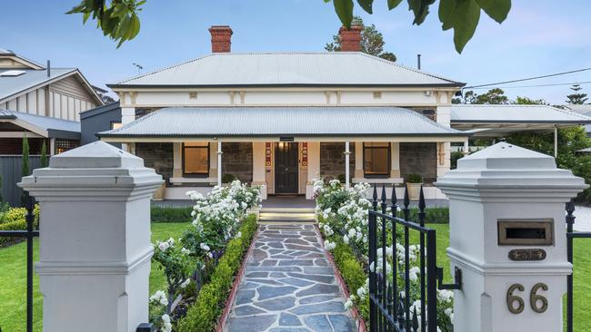 This four-bedroom home at 66 Penzance St, Glenelg South is an original landmark property and mentioned in the records at Cummin's House.