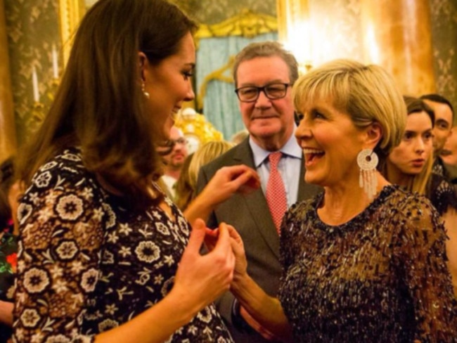 Julie Bishop chats with a pregnant Kate Middleton. Picture: Getty