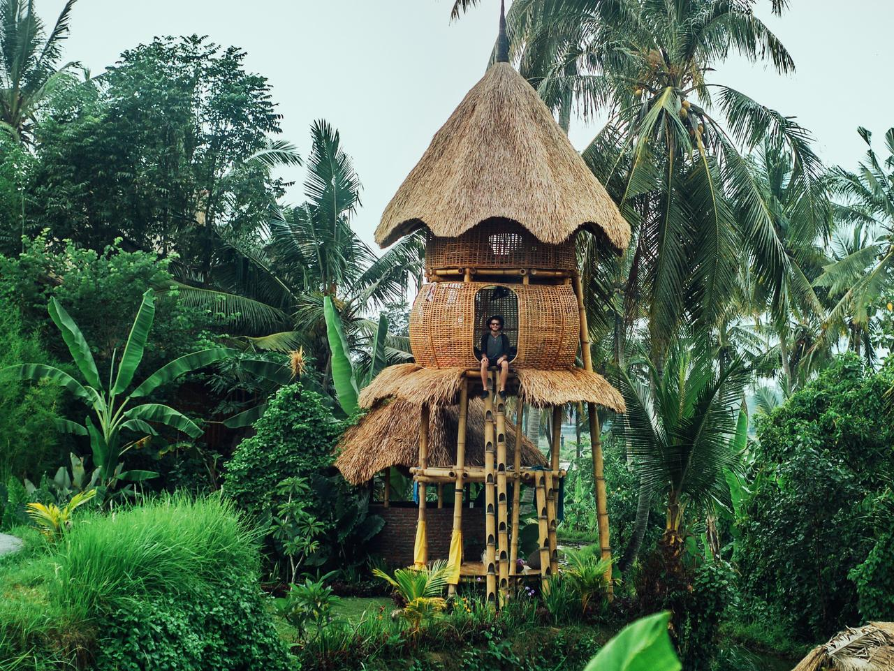 Bamboo eco-cottage accommodation at Peliatan, Ubud, Bali. Picture: Kim&Nash @thenomadicpeople / Instagram