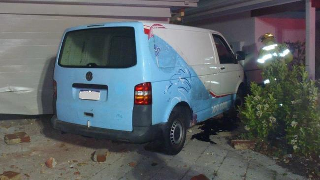 Police are investigating a crash in Aubin Grove, after a Volkswagen Transporter van crashed into two houses late Sunday night. Picture: WA Police