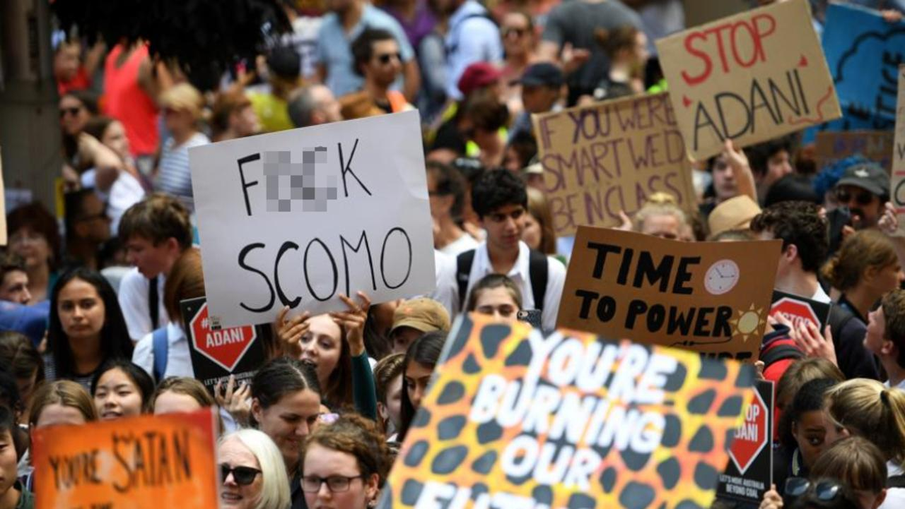 Thousands of students rallied demanding action on climate change in Sydney on Friday. Picture: Dan Himbrechts/AAP