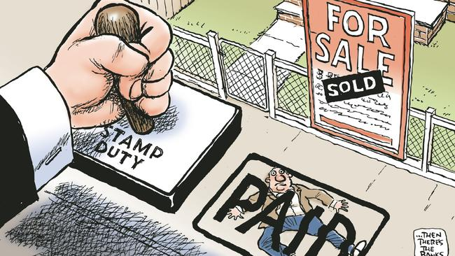 Mark Knight cartoon. A giant hand flattens a person by stamping them paid with a giant Stamp Duty stamp in front of a sold sign on a house. Real estate. Pig says; ...then there's the banks.