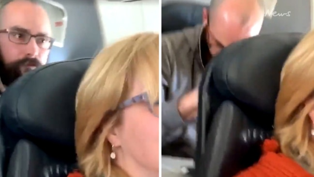 Reclining passenger films mid-air 'assault'