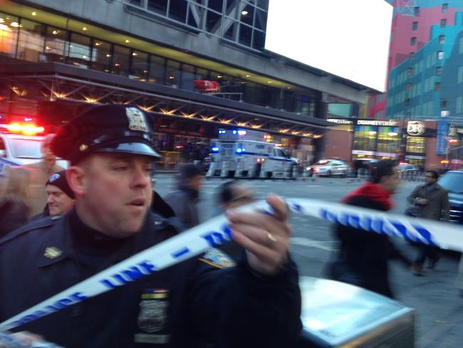 Police respond to a report of an explosion near Times Square. Picture: AP Photo/Charles Zoeller