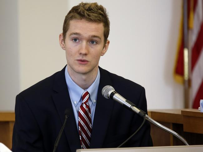 Former St. Paul's School student and Mr Labrie's former roommates Andrew Thomas testifies Monday, Aug. 24, 2015, during the trial. Picture: Jim Cole