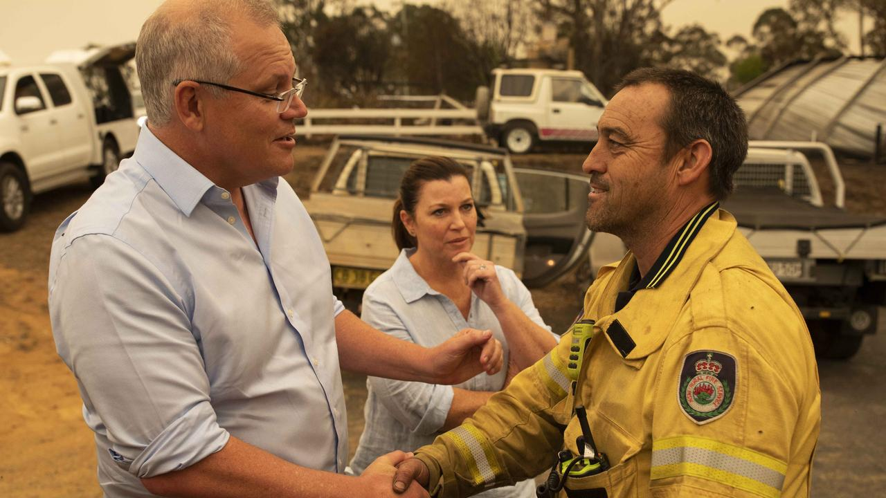 Prime Minister Scott Morrison and wife Jenny visit Cobargo. Picture: Sean Davey.