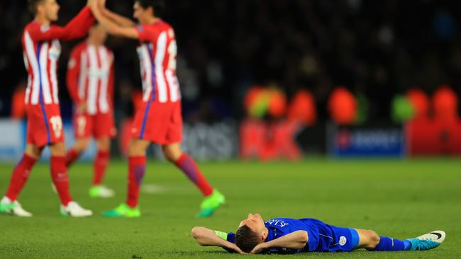 Jamie Vardy of Leicester City is dejected.