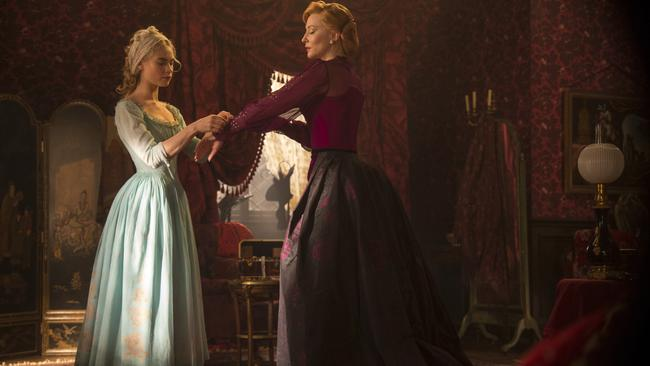 Cate Blanchett is the Stepmother and Lily James is Cinderella in Disney's live-action feature film, out soon.