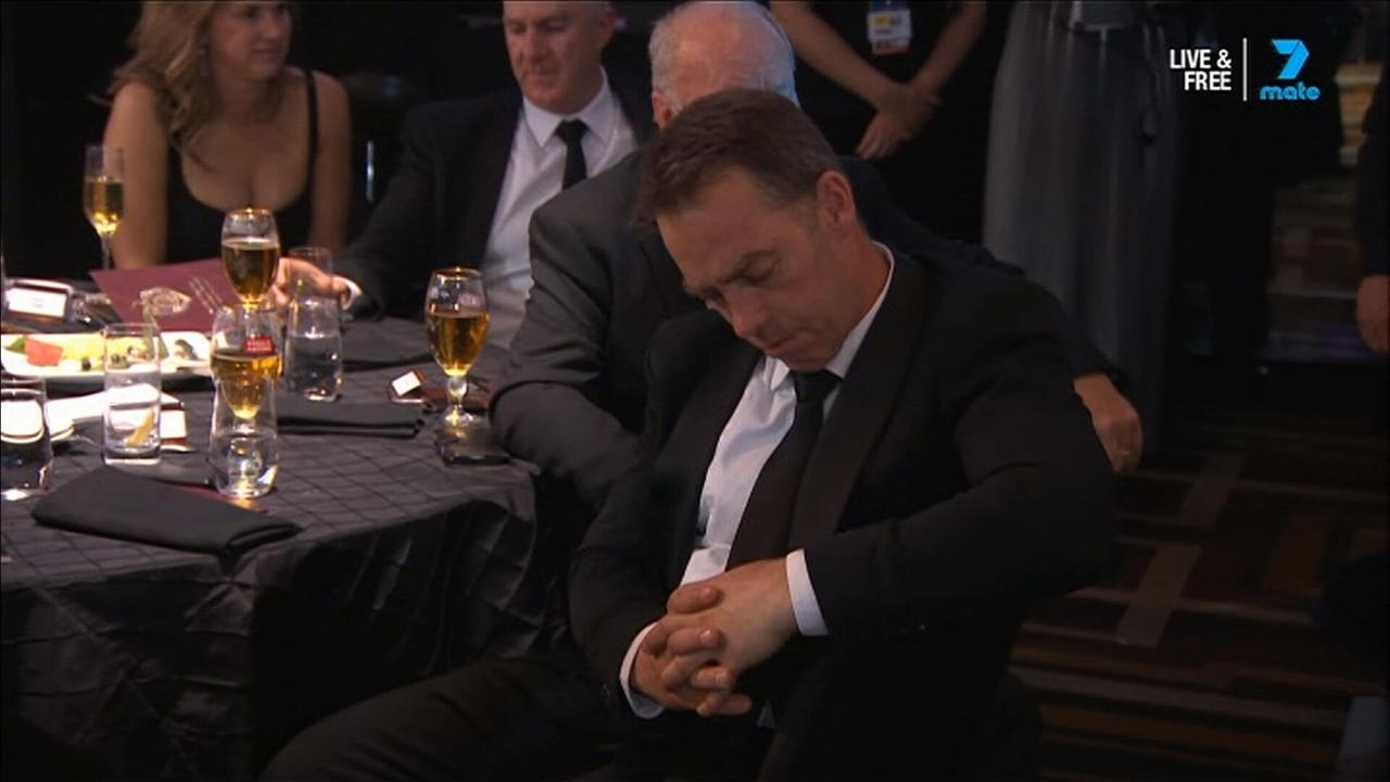 Alastair Clarkson was caught napping during Tom Mitchell's acceptance speech.