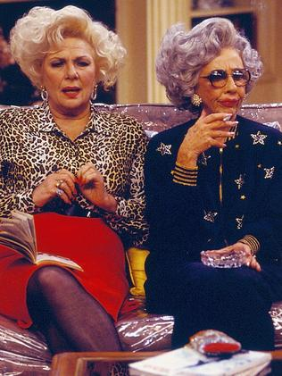 Ann Morgan Guilbert as Yetta (right) with Renee Taylor as Sylvia Fine (left) on The Nanny. Picture: CBS via Getty Images