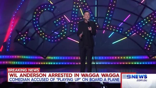 Comedian Wil Anderson has been arrested and is right now in custody at Wagga Wagga Police Station. Courtesy: Nine News