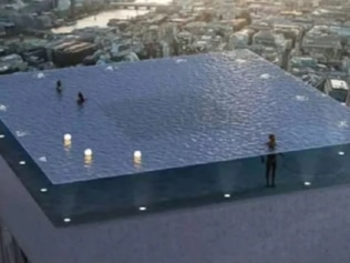 A 360-degree rooftop swimming pool could soon open in London, of all places. Picture: Compass Pools Source: Supplied