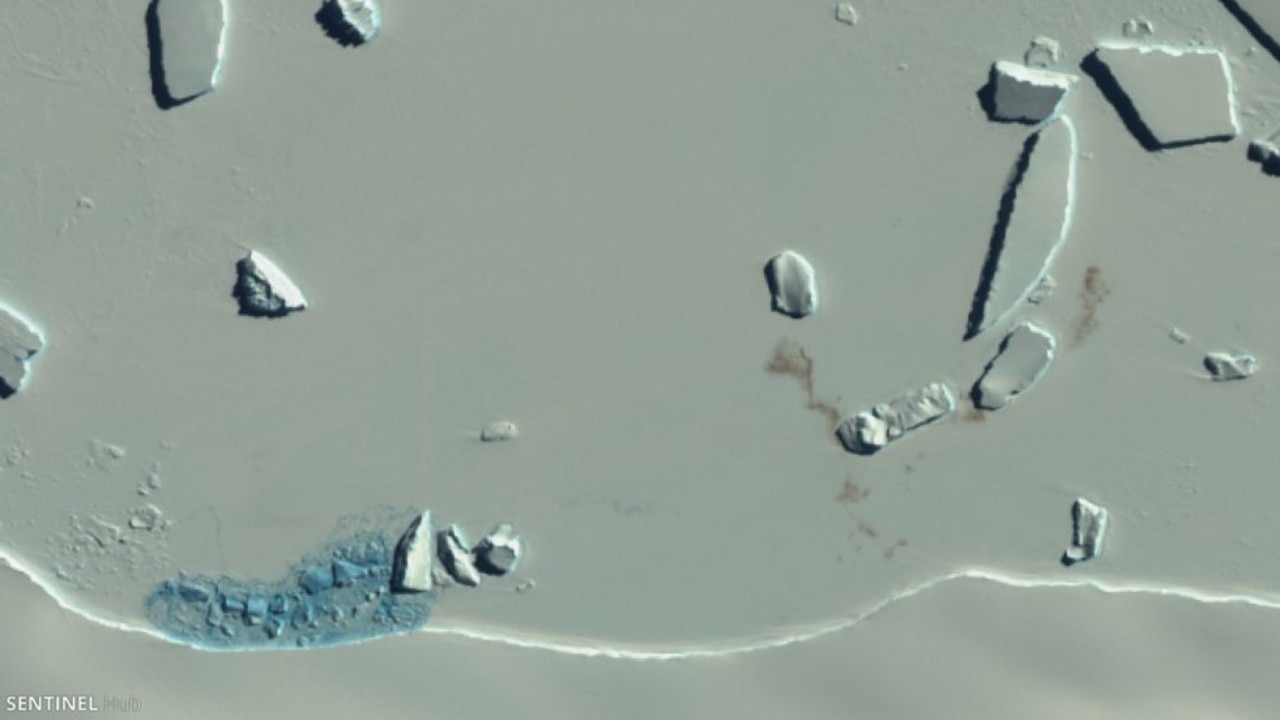 This image, taken by Europe's Sentinel-2 satellite, show smudges on the ice which are evidence of an emperor penguin colony.