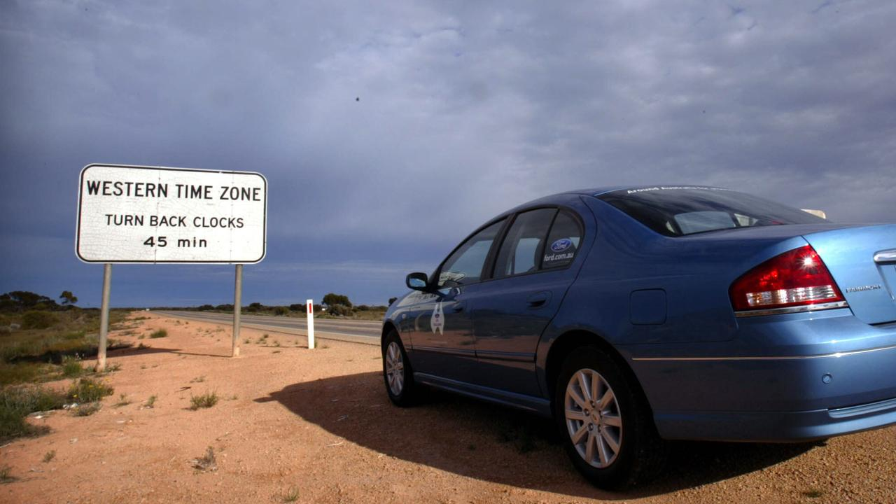 Signs on the side of the highway on the Nullarbor advise drivers they are entering and then leaving the Central Western Time zone, which does not officially exist.