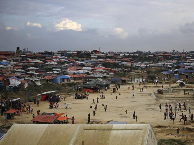 Rohingya refugees play in a playground at Kutupalong refugee camp, a ramshackle sprawl of camps built amid low rolling hills and endless monsoon-season mud, in Bangladesh. Picture: Altaf Qadri/AP