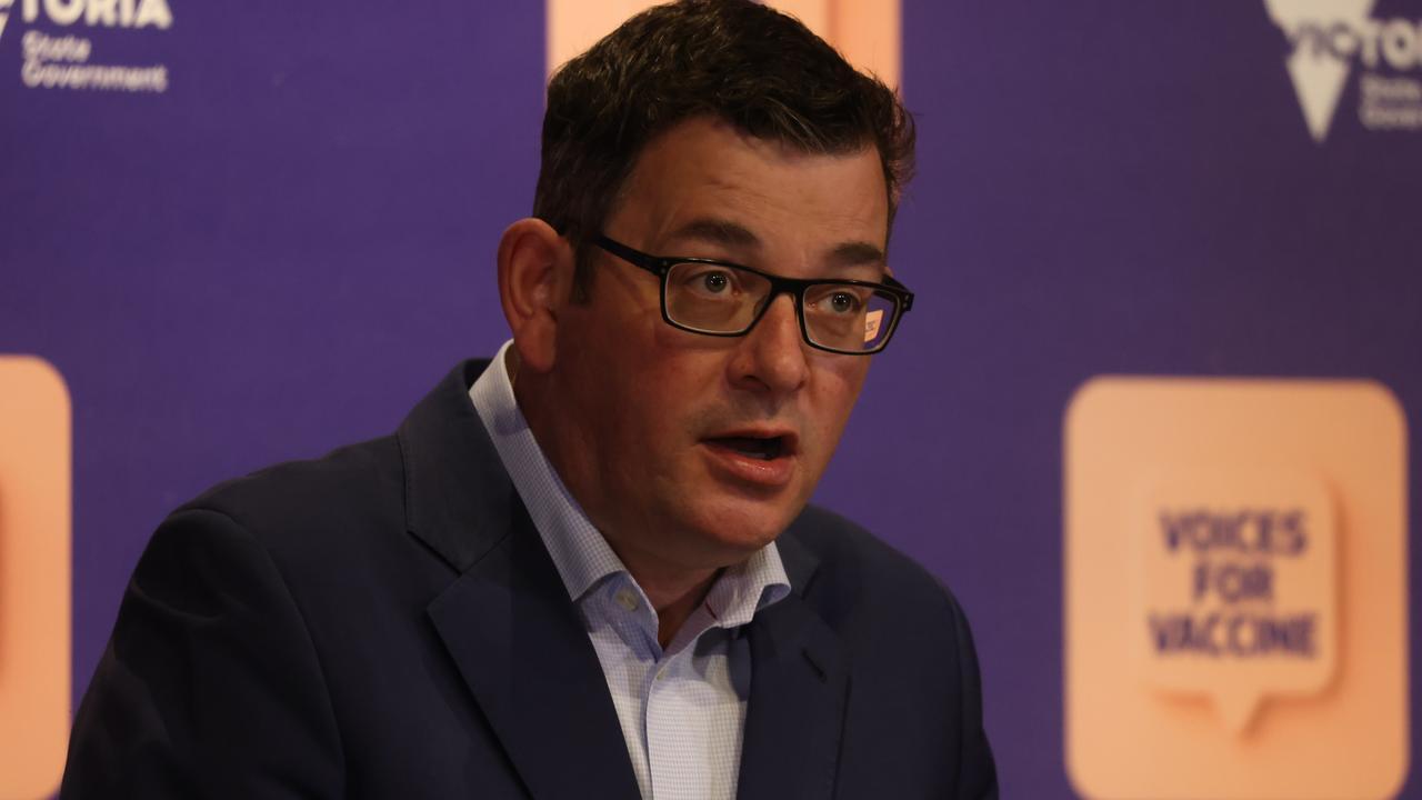 Premier Daniel Andrews says hitting the 80 per cent target is a fantastic achievement. Picture: NCA NewsWire / Paul Jeffers