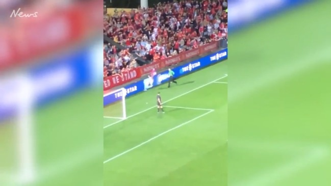 FFA streaker crashes into barrier