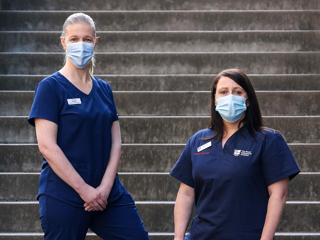 Royal Melbourne Hospital ICU nurse Michelle (right) spoke to the media about how hospitals are coping with the latest Covid-19 cases in Melbourne. Picture: NCA NewsWire / Ian Currie