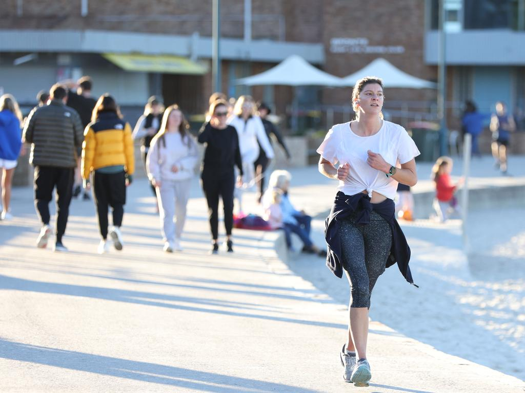 People out exercising at Bronte Beach on Monday. Picture: Damian Shaw