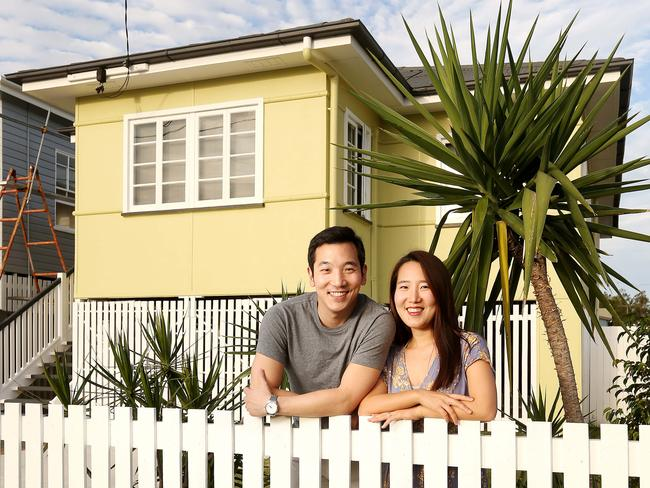 Colin and Lily Yi at their home in Hemmant, a Brisbane suburb with the most house price growth in the past year Picture: Josh Woning.