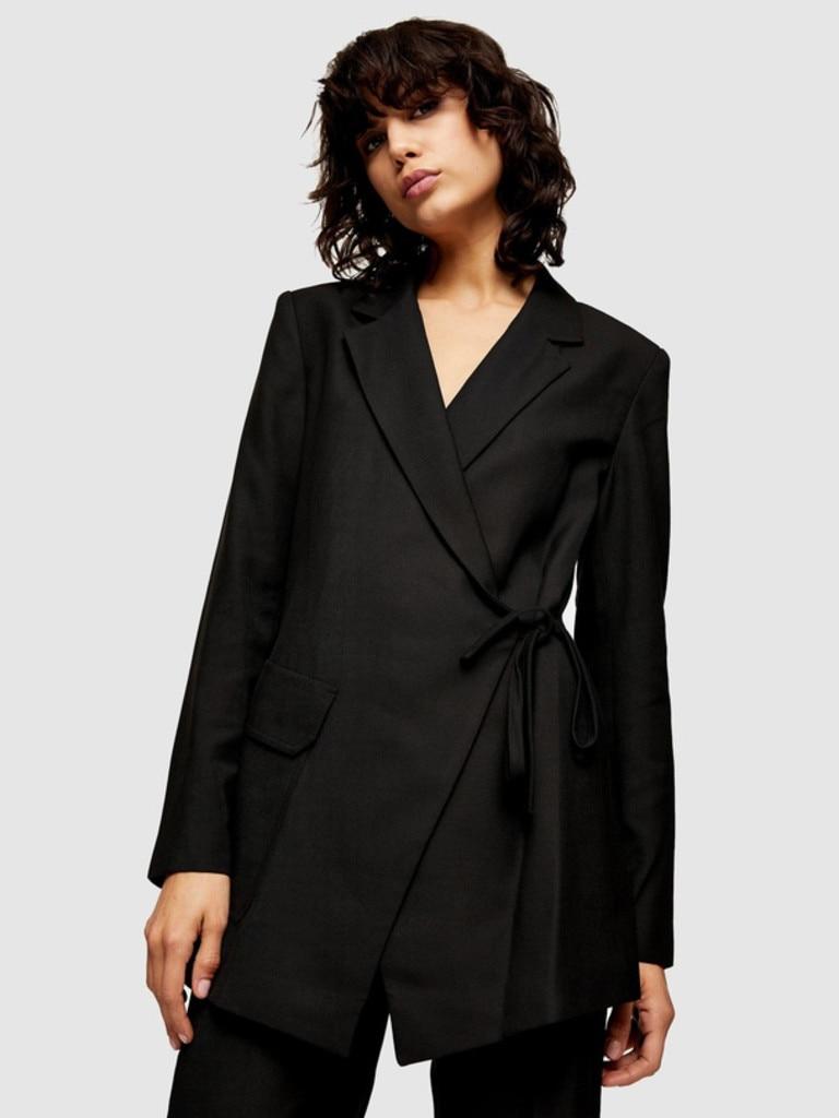 TOPSHOP Wrap Suit Blazer. Image: THE ICONIC.