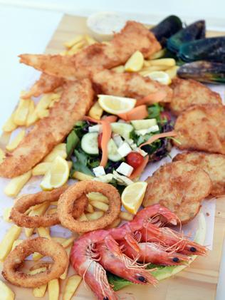 A seafood platter from award-winning Terrigal Beach Fish & Chip Co.