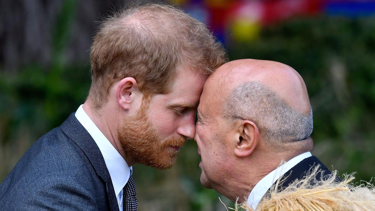 Britain's Prince Harry receives a hongi from an elder in Wellington in 2018. Picture: Marty Melville/AFP