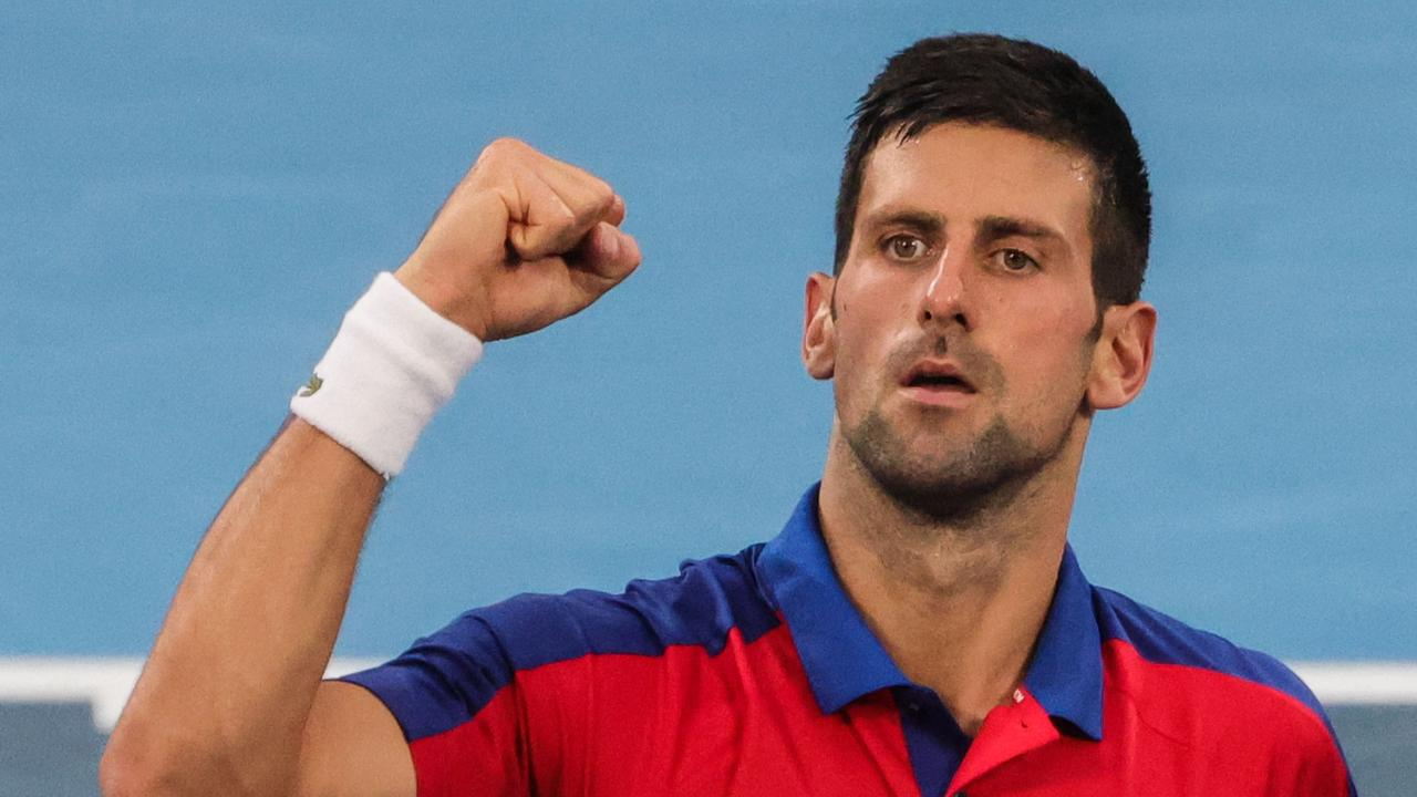 Serbia's Novak Djokovic celebrates after defeating Germany's Jan-Lennard Struff during their Tokyo 2020 Olympic Games men's singles. Picture: Giuseppe Cacace / AFP