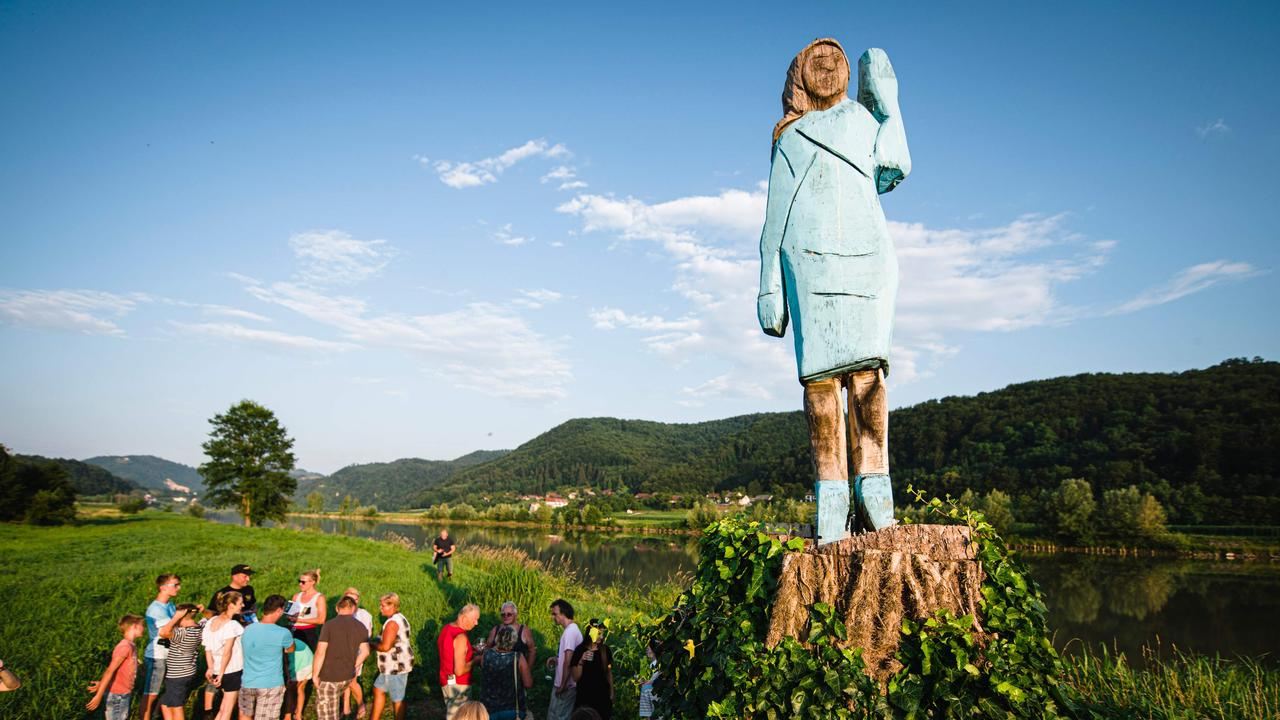 Artist Ales 'Maxi' Zupevc's statue of Melania Trump, in the fields near the First Lady's hometown in Slovenia. Picture: Jure Makovec/AFP