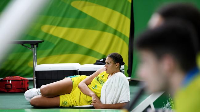 Opals star Liz Cambage takes it easy after scoring 21 points against New Zealand. Picture: AAP Image/Tracey Nearmy