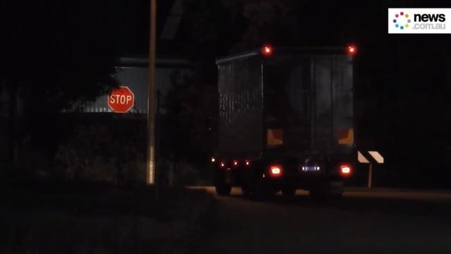 Australia Post trucks driving straight through stop sign