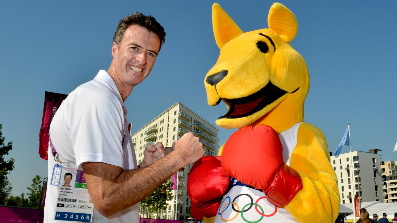 """London Olympics 2012. Australian Chef De Mission Nick Green and mascot """"The Boxing Kangaroo"""" at the Olympic Village Square"""