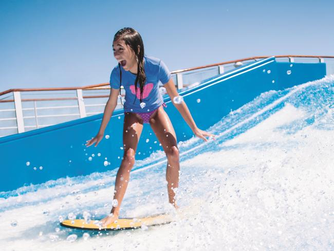 FLOWRIDER The new additions will be joining the Voyager of the Sea's existing 12 metre-long surf simulator, Flowrider. Whether you're a pro surfer, boogie boarder, wake boarder, and an amateur, you can test your skills on this exhilarating wave machine.