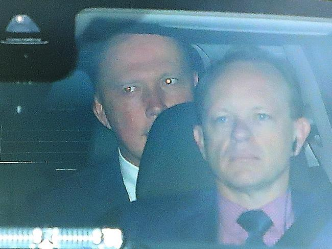Peter Dutton in the back seat arriving for the big day. Picture: Kym Smith