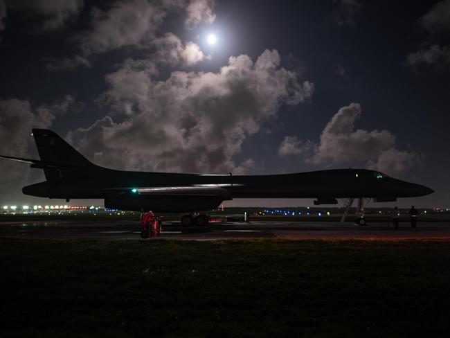 A US Air Force B-1B Lancer prepares for takeoff from Guam to conduct a bilateral mission with South Korean F-15 and Koku Jieitai (Japan Air Self-Defense Force) F-2 fighter jets in response to escalatory action by North Korea. Picture: AFP