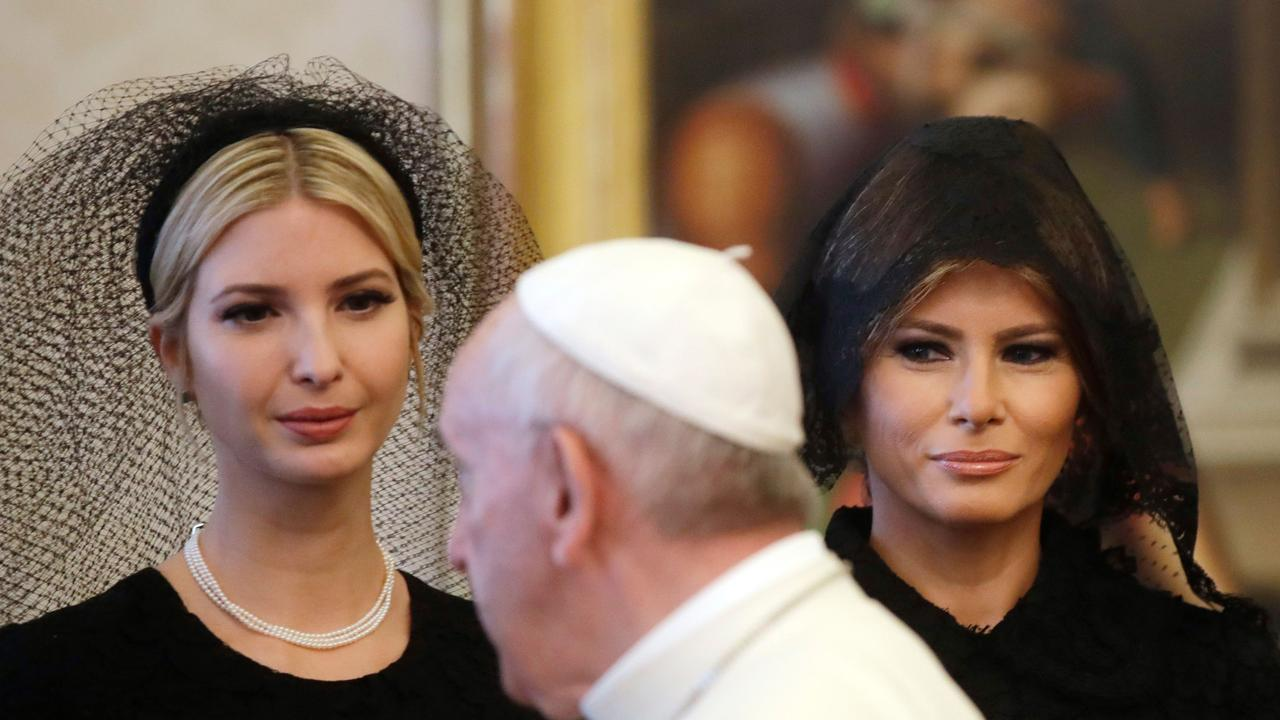 Ivanka (left) and First Lady Melania Trump with Pope Francis during a private audience at the Vatican in May, 2017. Picture: Alessandra Tarantino/AFP