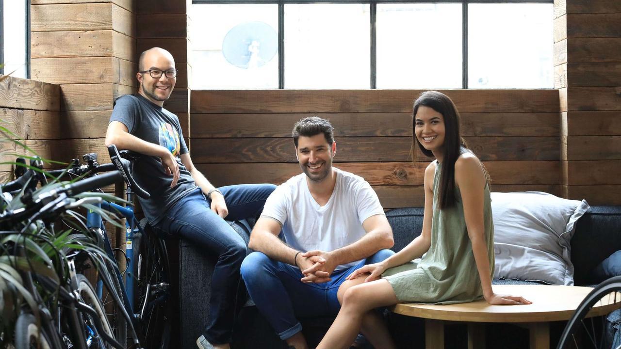 Canva co-founders Cameron Adams, Cliff Obrecht and Melanie Perkins.