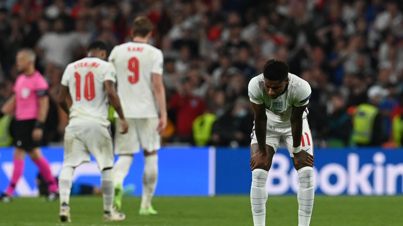 Marcus Rashford of England looks dejected following defeat in the UEFA Euro 2020 Championship Final.
