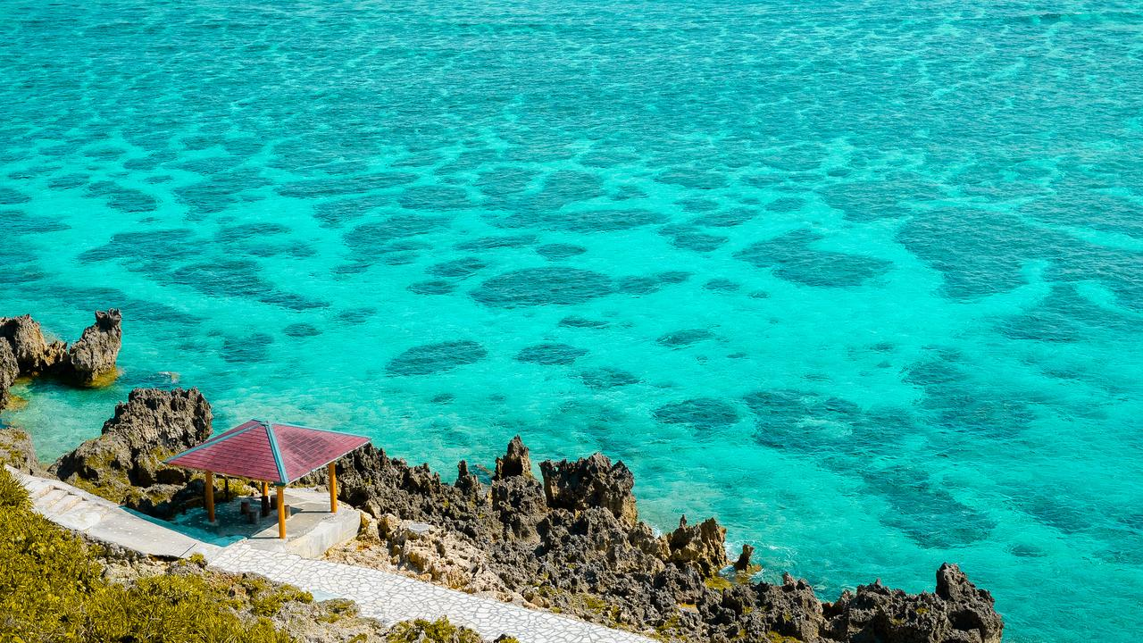 The islands are surrounded by turquoise waters.