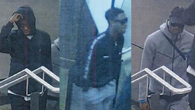 Police believe these three men can help in their investigation into an assault and robbery at Sandown Park station on November 16. Picture: Supplied