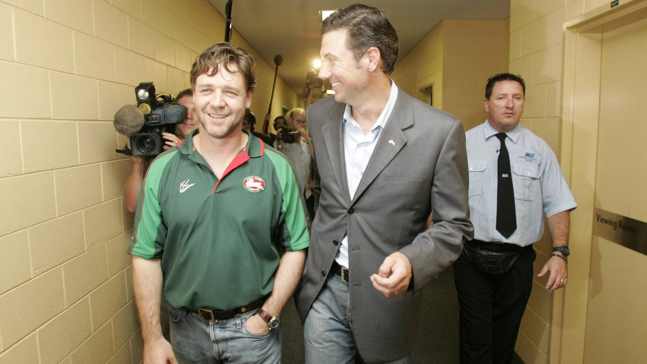 Russell Crowe and Peter Holmes a Court are all smiles at Stadium Australia after winning a vote of the members that gave them control of the South Sydney Rabbitohs.