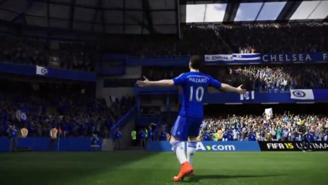 A screen grab of Chelsea star Eden Hazard at Stamford Bridge in FIFA '15. Picture: EA Sports.