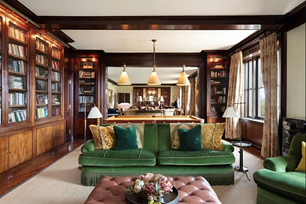 The wood-panelled library. Picture: Sotheby's International Realty