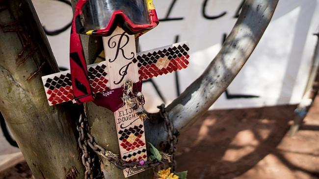 The memorial site for Kalgoorlie aboriginal teenager Elijah Doughty. Picture: Matthew Poon
